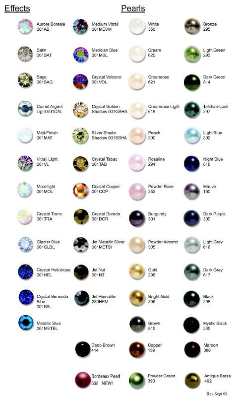 Swarovski Rhinestone And Crystal Color Chart Crystals 2 Love